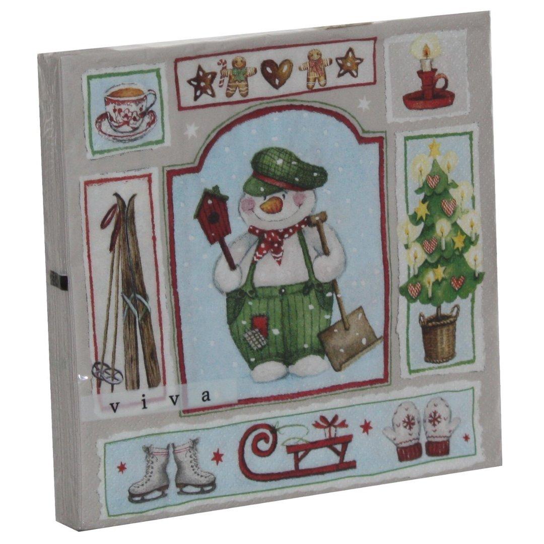 servietten 20er weihnachtsservietten motiv schneemann mit schneeschieber 33 x 33cm 3lagig. Black Bedroom Furniture Sets. Home Design Ideas