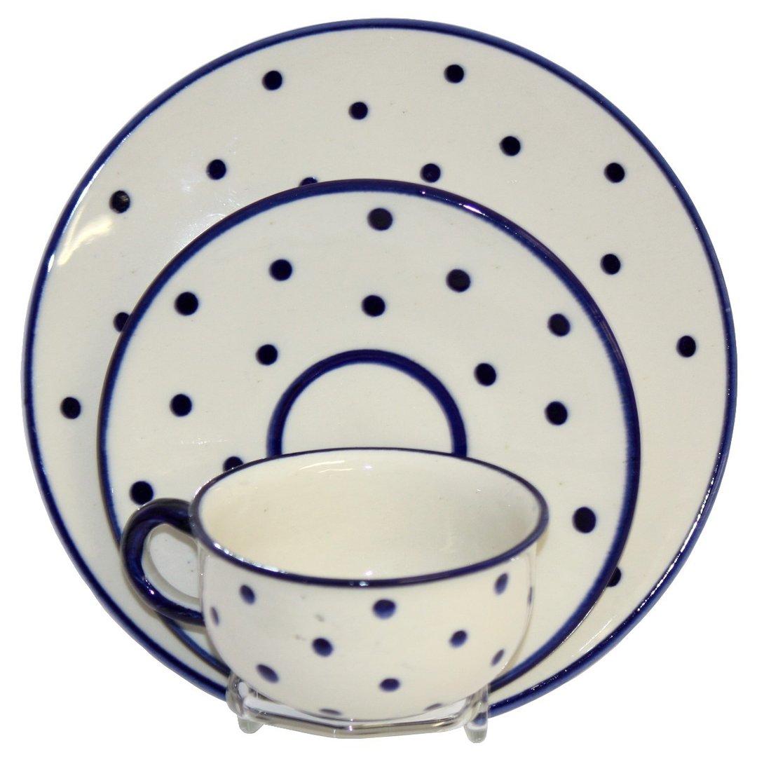 gedeck aus keramik creme mit blauen punkten s chsische keramik taff geschenkewelt. Black Bedroom Furniture Sets. Home Design Ideas