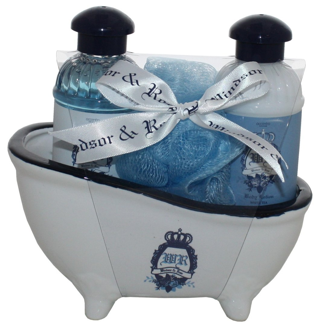 badeset geschenkset windsor rose white tea in keramik badewanne taff geschenkewelt. Black Bedroom Furniture Sets. Home Design Ideas